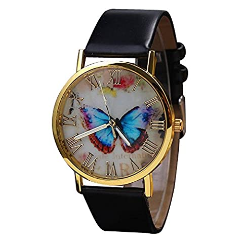 Frauen Damen Uhr kreative Vintage Schmetterling Kunstlederuhr Quarz Analog Kleid Armbanduhr (Schwarz)