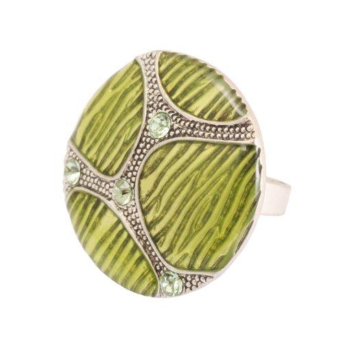 Bedazzled Lindgrün, Tortoise Shell Retro-Stil, Emaille, Rund, Verstellbar, Mit (Shell Modeschmuck Tortoise)