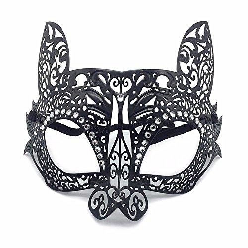 Masken Gesichtsmaske Gesichtsschutz Domino falsche Front Make-up Tanz Eisenmaske Kaninchen Diamant Metall Halbe Gesicht Party Katze Gesichtsmaske Halloween Katze Gesicht Schwarz