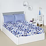 #4: Solimo Leafy Spring 144 TC 100% Cotton Double Bedsheet with 2 Pillow Covers, Blue