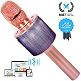 UVUXZLW Wireless Bluetooth Karaoke Microphone For Kids Girls Boys Friends Gifts Duet Singing Recording Portable Handheld Karaoke Mic Machine LED Lights For IPhone Andriod Ipad PC -1Pcs (Rose Gold)