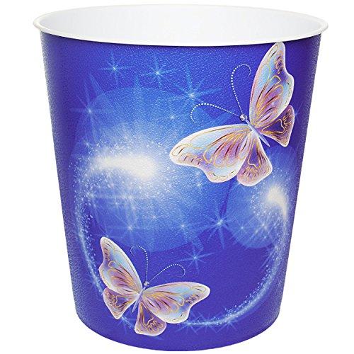 """Papierkorb / Behälter - """" bunte Schmetterlinge """" - 10 Liter - aus Kunststoff - Mülleimer / Eimer - Aufbewahrungsbox für Kinder / Büro - Mädchen & Jungen - Abfalleimer - Schule - für Kinderschreibtisch / Abfallbehälter Kinderzimmer - Erwachsene - Schmetterling - Tiere / blau - Blumenranken Retro Design - Blüten - auch als Blumentopf nutzbar - Kunststoffeimer / Abfallsammler - Spielzeugkorb / Popcornschüssel / Popcorn - Korb - Aufbewahrungskiste Spielzeug - Schüssel"""