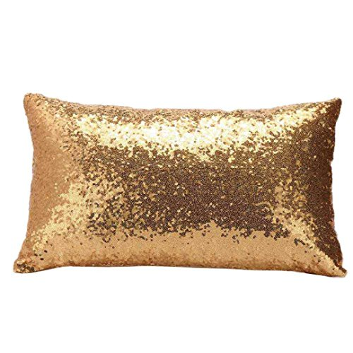 Indexp Rectangle Sequins Throw Cushion Cover Sofa Home Decoration Festival Pillow case (Yellow)