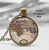 Best Cartes Boyfriend - Carte carte du monde–Collier–Bijoux–Collier Globe–Globe terrestre–Pendentif Globe Charm–Cadeaux Review