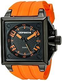 CEPHEUS - CP904-629A - Montre Homme - Quartz Analogique - Bracelet Silicone Orange