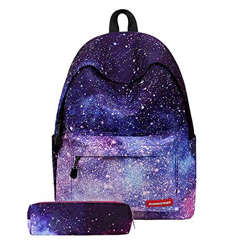 """Artone Unisex Nylon Sternenklar Galaxis Universum Rucksack Passen 15"""" Laptop mit Umhängetasche Kordelzug Tasche und Mäppchen Blau Set von 4 Tunkelblau Set von 2"""
