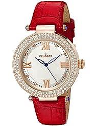 Peugeot Reloj para mujer, oro rosa, bisel de cristal, correa de piel, rojo