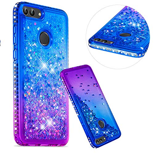 Kristall Transparent Hülle für Huawei P Smart,CESTOR Luxus Diamond Edge Flüssig Treibsand Ultra Dünn Weich Silikon TPU Bling Glänzend Dauerhaft Schutzhülle für Huawei P Smart,Blau + Lila