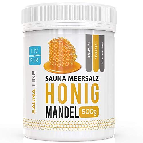 Sauna Meersalz Peeling Salz Saunasalz | Honig Mandel 500g | mit Jojobaöl | Kosmetik für die Haut |...