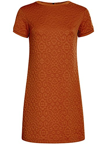 oodji Ultra Damen Lässiges Kleid aus Strukturiertem Stoff Orange (3100N)