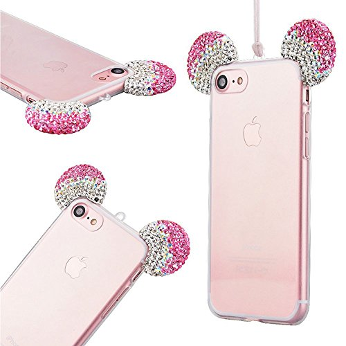 info for 59c06 c4bca iPhone 6 Case, iPhone 6S Case,3D Sparkle Shiny Rhinestone Diamante Cute  Disney Mickey Minnie Mouse Ears Design,Ultra thin TPU soft shell with  lanyard ...