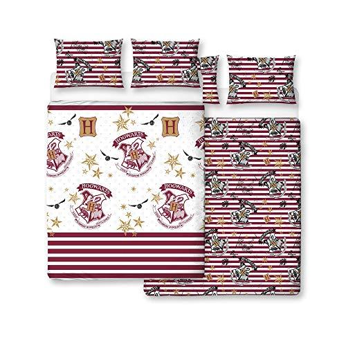 Harry Potter Hogwarts diseño de Muggles ropa de cama de funda de edredón con funda de almohada–dos cara, microfibra, blanco, doble