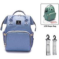 Zaino per cambio pannolino con porta di ricarica USB, Yimoji multi-funzione impermeabile bambino passeggino mamma e papà, borsa da viaggio con cinghie, isolato, tasche