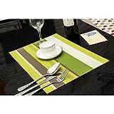 Sets de table antidérapant, lavable, calorifuge, lot de 6, Taille 45 x 30 cm (vert)