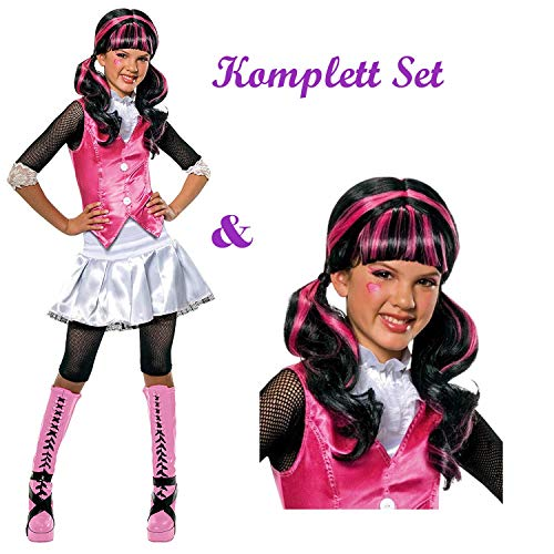 Savahe Monster High Draculaura Kostüm & Perücke Komplett Set / Halloween & Karneval Mädchen Vampir Party (122/128)