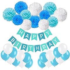 Idea Regalo - Recosis Bandiera Buon Compleanno Striscione con 20 Pezzi Festa Palloncini e 12 Pezzi Pon Pons Fiori di Carta per la Festa di Compleanno, Blu