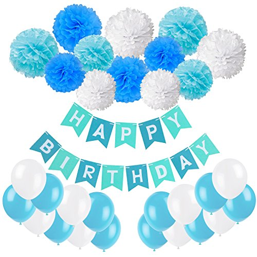 Geburtstag Party Dekoration, Recosis Happy Birthday Wimpelkette Banner Girlande mit Seidenpapier Pompoms und Luftballons für Mädchen und Jungen Jeden Alters - Blau, Hellblau und Weiß