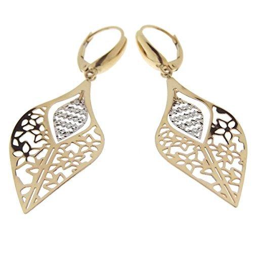 Ohrringe aus gold 18 kt gelb und weiß für frauen blattgemüse anhänger mit ohrhaken