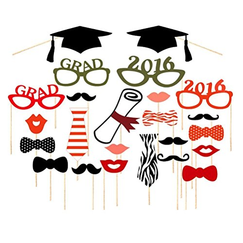 on Photo Booth Props DIY Mortar Board Glasses Bow Ties On Sticks ()