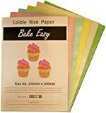 30 x Coloured Selection of Sheets Bake Easy Edible Rice Wafer Paper A4 Sized Sheets in 5 colours- 6 Pink, 6 Blue, 6 Green, 6 Yellow and 6 White