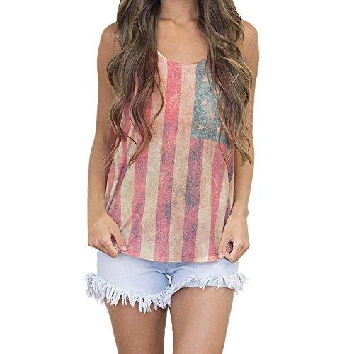 Vovotrade ✿✿ Print American Flag Sexy Ärmelloses Tank Crop Tops Weste Bluse Damen T-Shirt (M)