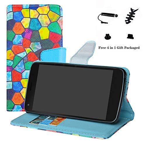 LFDZ ARCHOS 50F Helium Hülle, [Standfunktion] [Kartenfächern] PU-Leder Schutzhülle Brieftasche Handyhülle für ARCHOS 50F Helium/ARCHOS 50F Helium Lite (mit 4in1 Geschenk Verpackt),Stained Glass