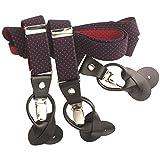 Hosenträger 50er Style mit Lederpatten zum Knöpfen und Clipsen,Kombi-System Y-Form mit Stretch Stoff in Marine-rot, 9501029 Grösse 110, Farbe Marine-rot