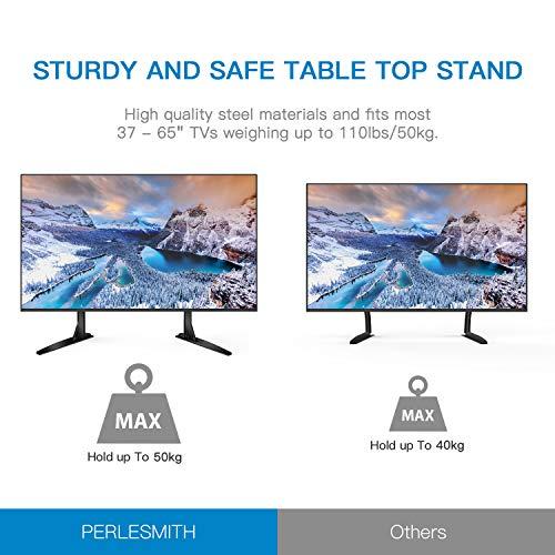 """51Ut2y472DL - Soporte Universal de TV de Sobremesa para Pantalla Plana de 37-65"""", LCD Televisores con Base de Patas de Altura Ajustable para Soportar hasta 50kg, VESA hasta 800x400mm"""
