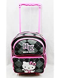 Small Size Black Plaid Hello Kitty Rolling Mochila - Hello Kitty Maleta con Ruedas