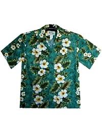KY´s| Chemise Hawaïenne D'Origine | Pour Hommes | S - 6XL | Manche Courte | Poche Avant | Hawaiian-Imprimer | Fleurs | Vert