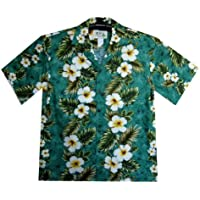 KY's   Original Camicia Hawaiana   Signori   S - 4XL   Maniche Corte   Tasca Frontale   Hawaii Stampa   Fiori   Verde