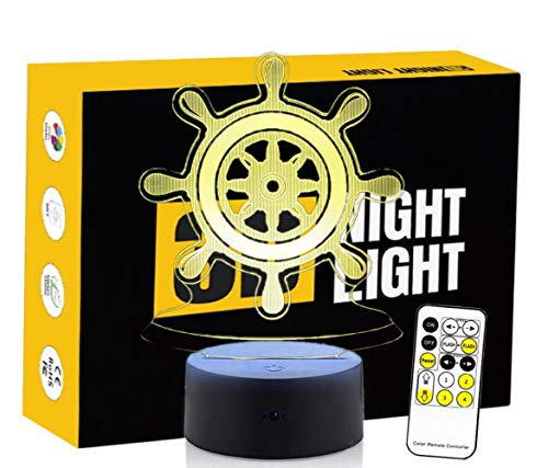 Leisurely Lazy Ship Rudder Shape 3D Optical Illusion Lamp 7 Colors Change Touch Button and 15 Keys Remote Control Children Kids Bedside Table LED Night Light - Solar Key Ring