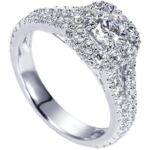 1.62CT Diamant Engagement Hochzeit Ring Rundschliff Solide 14K Weiß Gold Lab Erstellt Diamant Größe I, J, K - 50 (15.9)