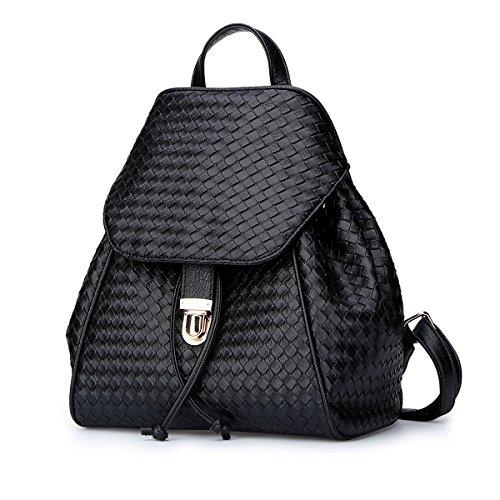 Valin S789 Damen 2018 Mode PU Rucksackhandtaschen,26.5x30x15.5(BxHxT) Schwarz Gitter