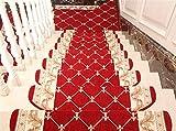 Liveinu Selbstklebend Stufenmatten Treppen Teppich Halbrund Waschbar Starke Befestigung Anthrazit Klassisch Treppen-Matten 24x80cm (15 Stück) Rot 3