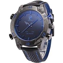 Shark Men's LED Date Day Alarm Digital Analog Quartz Sport Black Leather Band Wrist Watch SH265 Blue