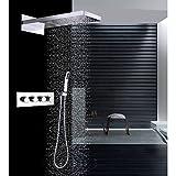 HONGHUIYU Moderne Wandmontage Regendusche Wasserfall Handdusche inklusive Thermostatische Keramisches Ventil Vier Griffe DREI Löcher Chrom,