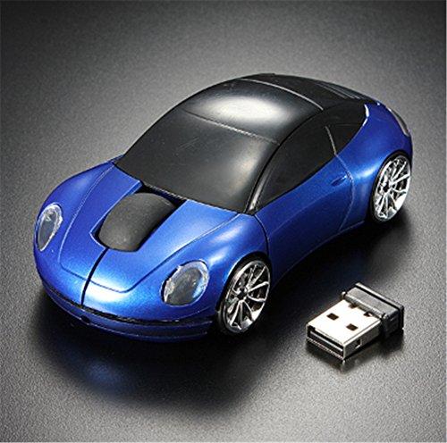 Interesting® Blaue 3D drahtlose optische 2.4G stilvolle Auto geformte Maus Mäuse für PC Laptop