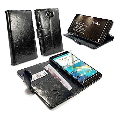 Tuff-Luv Vintage Étui housse/Portefeuille en cuir veritable pour Blackberry Priv - Noir