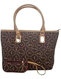Aliado Faux Leather Printed Black & Beige Zipper Closure Tote Bag For Women