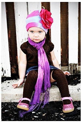 Blue Pink Purple Tie Dye Hat with Raspberry Large Rose, Size: 4-6y (Blue Tie-dye Baby)