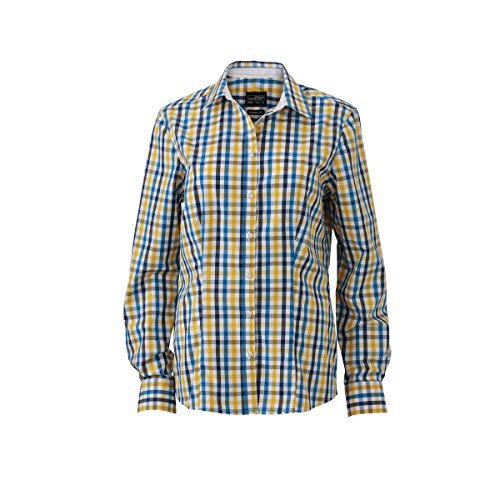JAMES & NICHOLSON - chemisier vichy manches longues à carreaux - repassage facile - JN616 - Femme blanc / bleu-jaune-blanc