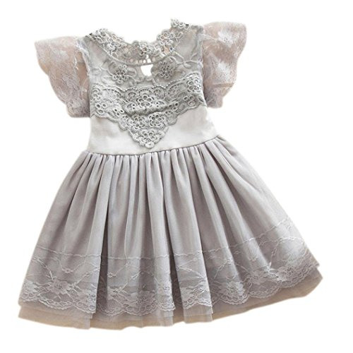 AMUSTER.DAN MÄDCHEN 's Blumenmädchen Prinzessin Dress Lace Party Tüll Lace Tutu Slip Kleid (120, grau) (Verschönert Mädchen-socken)