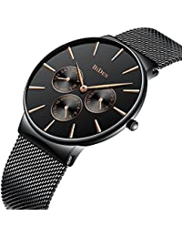 Mens Simple Designer Watches Men Waterproof Date Calendar Stainless Steel Mesh Analogue Quartz Watch Men's Business Classic Luxury Dress Black Wrist Watches with Black Dial