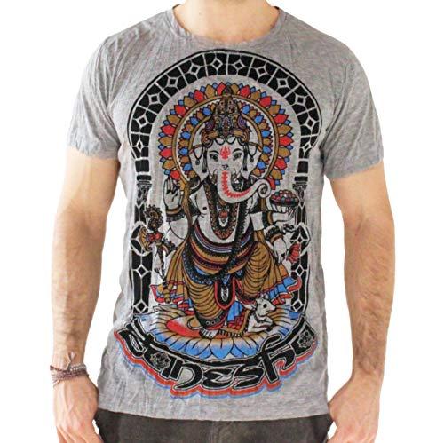 Yoga Shirts - Omtimistic para hombre hindú Ganesh 'Dios elefante Y símbolo de OM' Camiseta (X-Large, Gris)