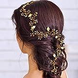 Serre-tête à perles de mariage de Handcess Accessoires décoratifs pour coiffure de mariée en forme de feuilles de vigne Longue feuille en or et cristal Tiare pour femmes