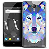 Caseink Coque Wiko Jerry 2 (5 Housse Etui [Crystal Gel HD Polygon Series Animal - Souple - Ultra Fin - Imprimé en France] Loup
