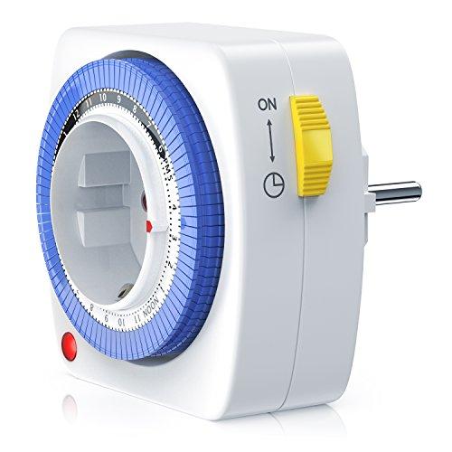 Bearware – 24h mechanische Zeitschaltuhr / Plug in Timer | 96 Schaltsegmente | Schaltknopf für Ein/Auto-Funktion | kompakte/einfache Bedienweise | 3680W | Kinderschutzsicherung