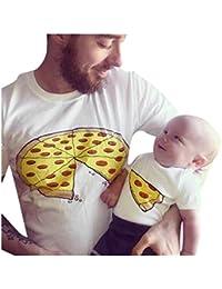 QinMM Pizza Camiseta de Papá y Bebé, Camisa de Manga Corta Hombre ...