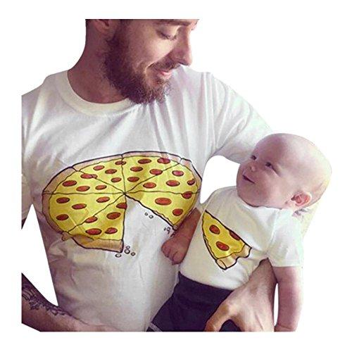 QinMM Pizza Camiseta de Papá y Bebé, Camisa de Manga Corta Hombre y